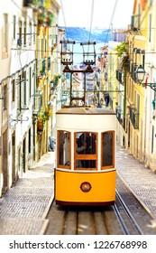 Lisbon, Portugal - famous tourist attraction, the Bica elevator at Bairro Alto neigbourhood.