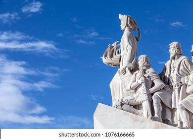 Lisbon, Portugal - February 04, 2018: Padrao dos Descobrimentos monument. The Sea Discoveries Monument commemorates the navigators who explored the oceans and continents and created globalism