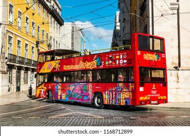 Lisbon, Portugal - February 11, 2018: Sightseeing bus in Lisbon, Portugal