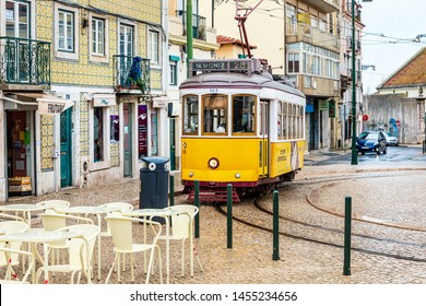 Lisbon, Portugal - February 11, 2018: Typical,Tramway in Lisbon, Portugal, Europe