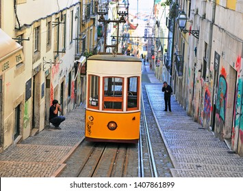 LISBON, PORTUGAL - FEBRUARY 14: Bica funicular in the street of Lisbon, Portugal on February 14, 2019.