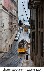Lisbon, Portugal - February 16, 2010: Old trams in a street of the Chiado neighborhood in the city of Lisbon, Portugal;