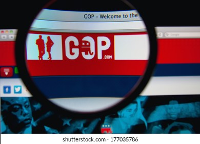 LISBON, PORTUGAL - FEBRUARY 17, 2014: Photo of the GOP homepage on a monitor screen through a magnifying glass.