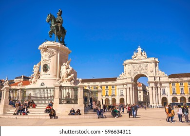 LISBON, PORTUGAL - February 18: City Center with Praca do Comercio and Famous Arch.