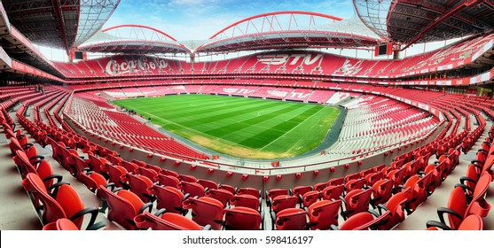 LISBON, PORTUGAL - FEBRUARY 18 : Stadium and Sport Lisbon e Benfica February 18, 2017 in Lisbon, Portugal. The stadium was rebuilt in 2003 for the UEFA EURO 2004 with capacity of 65,127 spectators.