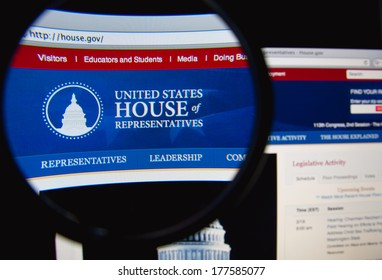 LISBON, PORTUGAL - FEBRUARY 19, 2014: The United States House of Representatives homepage through a magnifying glass. The US House of Representatives is one of the two houses of the US Congress.