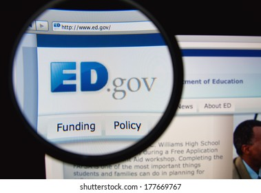 LISBON, PORTUGAL - FEBRUARY 19, 2014: United States Department of Education homepage through a magnifying glass. DoED is a Cabinet-level department of the United States government.