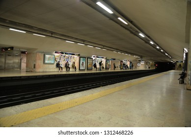 Lisbon, Portugal – February 2, 2019: Metro Station, Lisbon, Portugal, Europe