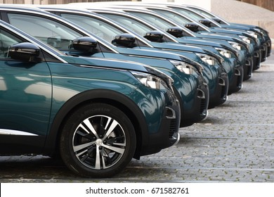 Lisbon, Portugal – February, 22, 2017: Modern Peugeot 5008 parking in a row on the street before press launch.