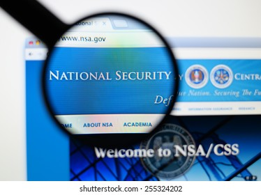 LISBON, PORTUGAL - February 24, 2015, 2014: Photo of the nsa national security agency page on a monitor screen through a magnifying glass.