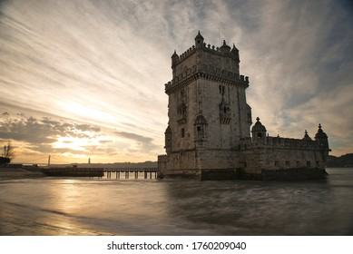 LISBON, PORTUGAL- FEBRUARY 26, 2019: image of the tower of Belem at dawn, one of the most representative monuments of the capital.