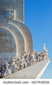 Lisbon, Portugal - February 3, 2019: distant view of the padrao dos descobrimentos, monument to portuguese discoveries in lisbon, with clear blue sky and sunlight