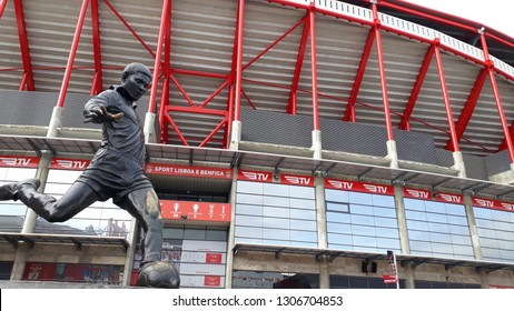 LISBON, PORTUGAL - JAN 27, 2019: Estadio da Luz (Stadium of Light), home stadium for the S.L. Benfica. Statue of Eusebio, the most important player of Benfica's history.