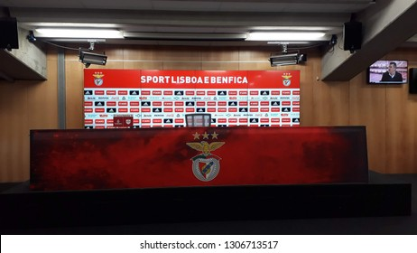 LISBON, PORTUGAL - JAN 27, 2019: Press hall at Luz Stadium, home of S.L. Benfica.
