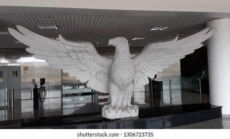 LISBON, PORTUGAL - JAN 27, 2019: Eagle of the old stadium of S. L. Benfica.