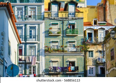 LISBON, PORTUGAL - JANUARY 05, 2015: The Mouraria is one of Lisbon's oldest districts next to traditional Alfama neighborhood, is also associated with fado.