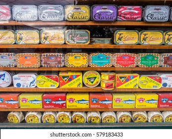LISBON, PORTUGAL - JANUARY 10, 2017: Different types of sardines and other typical Portuguese products sold in the old town of Lisbon.