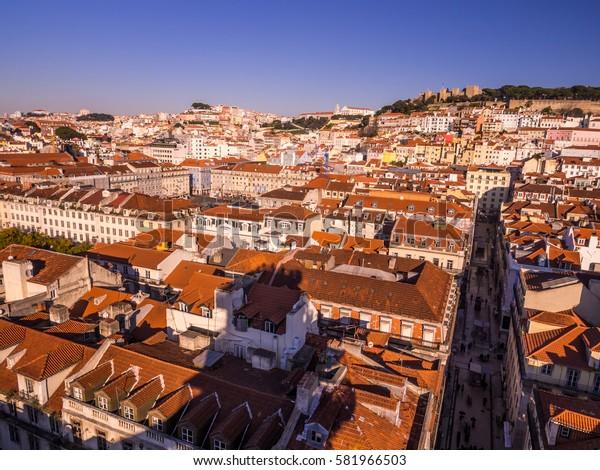 LISBON, PORTUGAL - JANUARY 10, 2017: Cityscape of Lisbon as seen from Miradouro do Elevador de Santa Justa (view point at the top of Santa Justa Elevator).