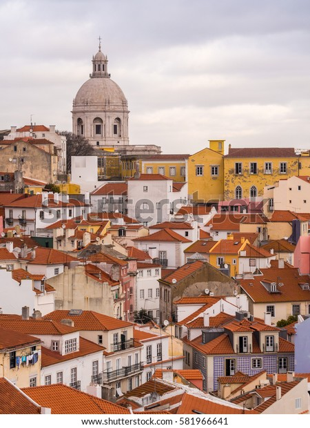 LISBON, PORTUGAL - JANUARY 10, 2017: Cityscape of Lisbon with the National Pantheon, Portugal, seen from Portas do Sol.