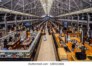 Lisbon, Portugal - January 13, 2019: Time Out Food Market Mercado da Ribeira in Lisbon is a major gastronomic tourist attraction