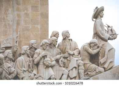 LISBON, PORTUGAL - JANUARY 16, 2018: Monument to the Discoveries - west side Lisbon Portugal
