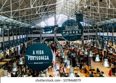 LISBON, PORTUGAL -  JANUARY 19, 2018: Food Market Mercado da Ribeira in Lisbon.