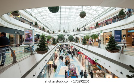 LISBON, PORTUGAL - JANUARY 2, 2014: Vasco da Gama Shopping Center. Situated in the Park of the Nations in Lisbon, the building is part of a large project by Santiago Calatrava.