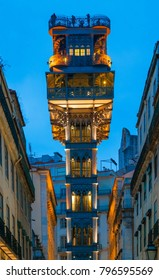 LISBON, PORTUGAL - JANUARY 2, 2018: The view of Santa Justa Lift (Carmo Lift ) at the end of Rua de Santa Justa. The elevator connects the downtown in Baixa to the Rua do Carmo. Lisbon. Portugal