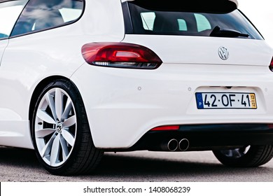 Lisbon, Portugal - January 27, 2019 back view of white car. volkswagen scirocco. close up