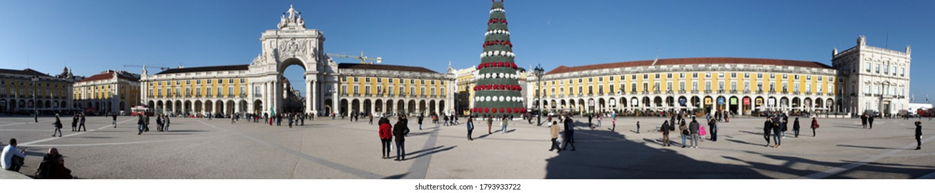 Lisbon, Portugal - January 6, 2017: Panoramic view of the Praca do Comercio, Commerce Square, with the Christmas Tree