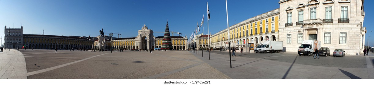 Lisbon, Portugal - January 6, 2017: Panoramic view of the Praca do Comercio, Commerce Square, with Christmas Tree