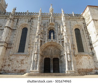 Lisbon, Portugal. Jeronimos Monastery and Church of Santa Maria, a monastery of the Order of Saint Jerome near the Tagus river in the parish of Belem. UNESCO World Heritage Site. September 29, 2016.