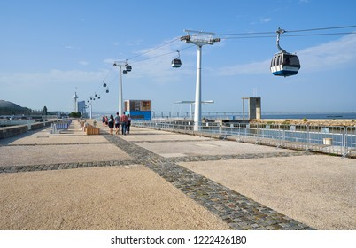 LISBON, PORTUGAL - JULY 04, 2016: The cable car way from the Oceanarium to the Torre de Vasco da Gama in the World Expo 1998 Park of the Nations.. Lisbon. Portugal