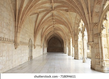 LISBON, PORTUGAL - JULY 05, 2017: The Jeronimos Monastery or Hieronymites Monastery, is a former monastery of the Order of Saint Jerome near the Tagus River in the parish of Belém, Gothic architecture