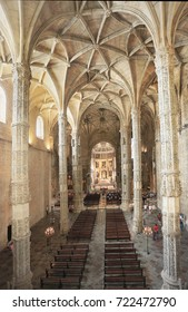 LISBON, PORTUGAL - JULY 05, 2017: The Jeronimos Monastery is a former monastery of the Order of Saint Jerome near the Tagus River. Late Gothic Manueline style interior and UNESCO World Heritage site.