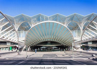 LISBON, PORTUGAL - JULY 16: Modern architecture at the Oriente Station (Gare do Oriente) on July 16, 2014 in Lisbon, Portugal