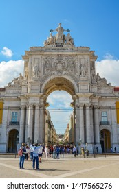 LISBON, PORTUGAL - JULY 2, 2019:  Augusta Street Arch is the triumphal arch connecting the Commerce Square to the Augusta Street in Lisbon, Portugal.