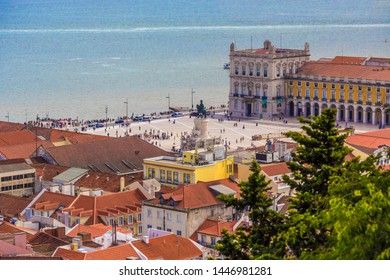 Lisbon, Portugal - July 2019: Aerial view of Historical Commerce Square (Praca do Comercio or Terreiro do Paco) and Statue of King Jose 1 Rua Augusta Arch Baixa, Lisbon, Portugal