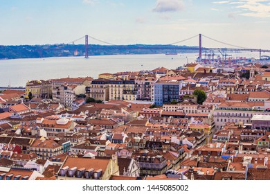 LISBON, PORTUGAL - July 2019: Panoramic view of Lisbon city from Monastery viewpoint, Lisbon, Portugal