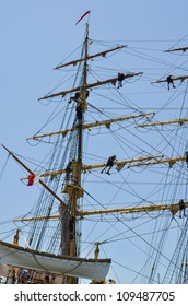 """LISBON, PORTUGAL - JULY 22: """"Georg Stage"""" in action during The Tall Ships races July 22, 2012 in Lisbon, Portugal"""