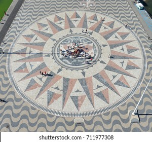 Lisbon, Portugal, July 23, 2015 : rose of the winds of 50 meters of diameter drawn on the ground. It shows the itineraries taken by Portuguese navigators in the fifteenth and sixteenth centuries.