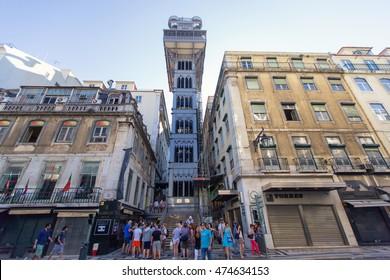 LISBON, PORTUGAL - JULY 27: Santa Justa elevator in Lisbon, Portugal on July 27, 2013. The elevator was built by Raoul Mesnard in 1902 to connect Baixa Pombalina and Chiado.