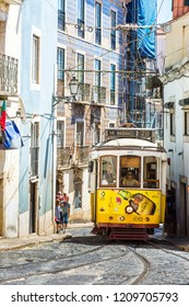 LISBON, PORTUGAL - JULY 30, 2014:  Vintage tram in the city center of Lisbon  on July 30 2014 in Lisbon, Portugal