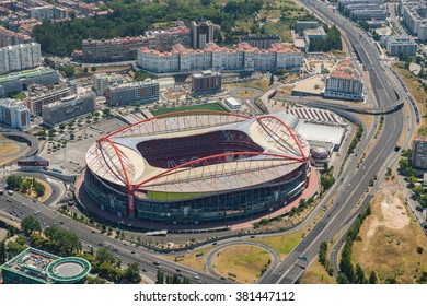 LISBON, PORTUGAL JUN - 22, 2015 : Aerial view of the Estadio da Luz on June 22, 2015. Estadio da Luz is the home base of the football team Benfica SL, it can sit 65647 people.