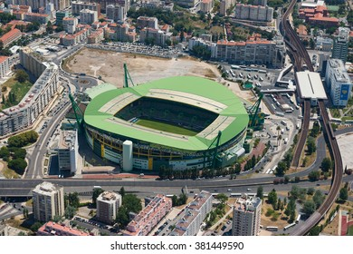 """LISBON, PORTUGAL JUN - 22, 2015 :Aerial view of Jose Alvalade Stadium in Lisbon on june 22,2015. It is home of Sporting Clube de Portugal, one of the """"Big Three"""" clubs in Portugal and can sit 50095"""