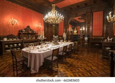 Lisbon, Portugal - June, 04, 2015 - The wonderful Dining Room of the Ajuda National Palace