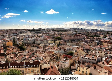 Lisbon, Portugal- June 1, 2018: Views of Lisbon city under blue sky in the morning from the viewpoint.