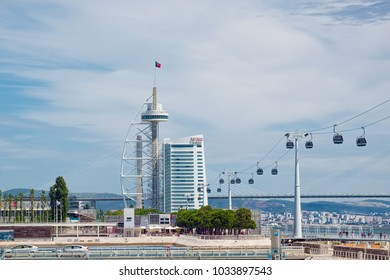 LISBON, PORTUGAL - JUNE 10, 2014: Vasco da Gama Tower and building of Myriad Hotel in Park of the Nations (Portuguese: Parque das Nacoes) of Lisbon city.