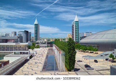 LISBON, PORTUGAL - JUNE 10, 2014: Buildings of modern architecture in Park of the Nations district (Portuguese: Parque das Nacoes) of Lisbon city, as viewed from Tagus River.