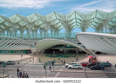 LISBON, PORTUGAL - JUNE 10, 2014: Modern architecture of Oriente station in Lisbon, a railway hub with local transport links.